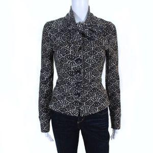 Diane Von Furstenberg Tie Neck Printed Knit Jacket
